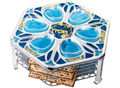 Vitrage Water Flowers Seder Plate Set Short